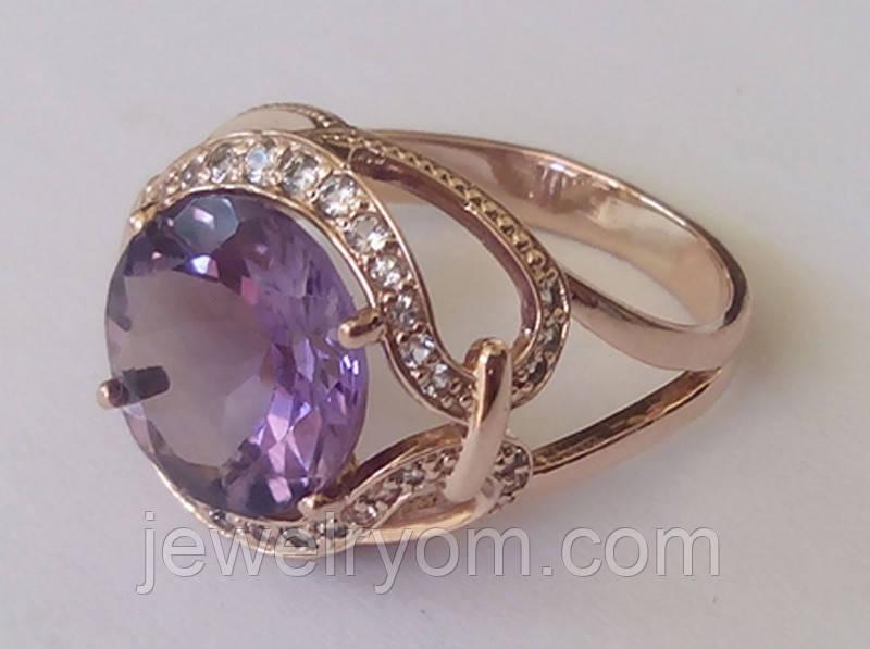 Кольцо КН0004МД, золото 585 проба, кубический цирконий.