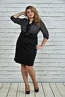 Женское деловое платье с шифоном 0321 цвет белый в горох размер 42-74 / для полных девушек