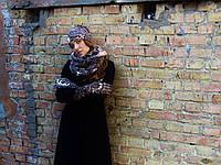 Снуд шарф в бежево-коричневый принт