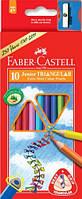 Цветные карандаши Jambo. Набор, 10 цветов, трехгранные, Faber-Castel