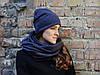 Снуд шарф темно-серый(синеватый)в елочку