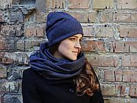 Снуд шарф темно-серый(синеватый)в елочку, фото 1