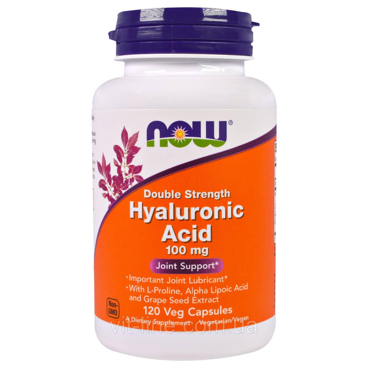 Гиалуроновая кислота  100 мг Now Foods, 120 капсул на растительной основе