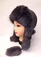 Женская зимняя шапка ушанка из меха кролика