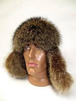 Зимняя меховая шапка ушанка мужская из меха енота