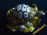 Черепаха-шкатулка мини 3486 . Металл+эмаль+камни
