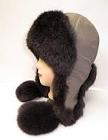 Женская шапка ушанка из меха кролика