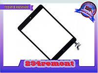 Защитное стекло  Apple iPad mini черный с кнопкой, фото 1
