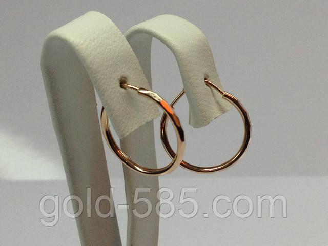 """Небольшие граненные золотые серьги """"Конго"""" с диаметром 1,5 см"""