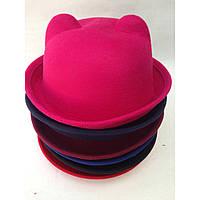 Шляпа женская фетровая котелок Кошечка с ушками