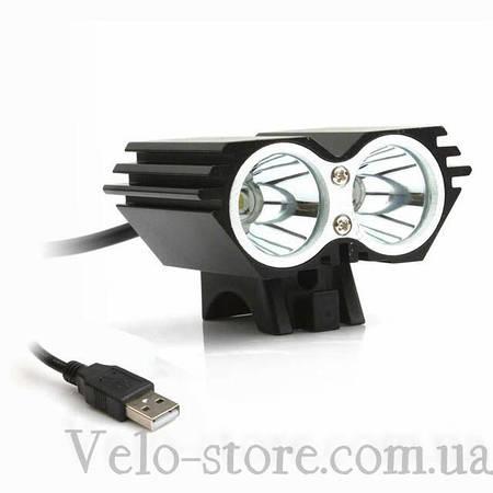 Велофара с двумя светодиодами Cree XML-T6 с питанием от USB + крепление