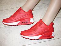 Т647-Кроссовки женские красные с белым