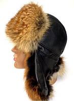 Мужская шапка ушанка из меха лисицы
