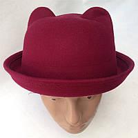 Шляпа женская фетровая котелок Кошечка с ушками марсала