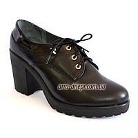 Женские кожаные туфли на шнуровке, устойчивый каблук, фото 1