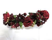 Обруч веночек ручной работы с бордовыми цветами