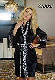 Красивый атласный халат мини/миди/макси.ОНИКС принт FLEUR Lingerie, фото 2