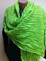 Стильный палантин шарф из хлопка  жатка цвет салатовый