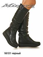 Женские черные кожаные сапоги на цигейке на низком ходу (размеры 36-41)
