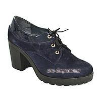 Женские синие замшевые туфли на шнуровке, устойчивый каблук, фото 1