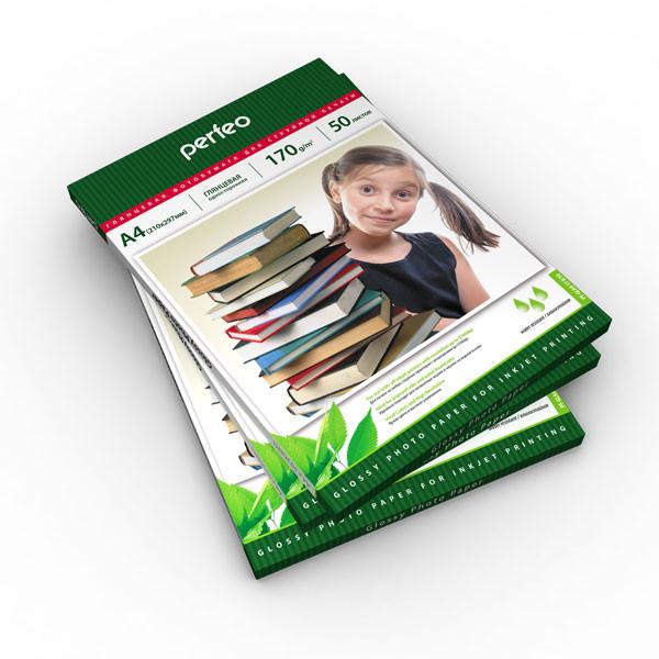 Фотопапір Perfeo глянцевий А4, 170 г/м2, упаковка, 50 листів