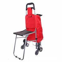 Сумка-тележка хозяйственная со стульчиком на 6-ти оборотных колесах