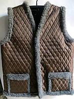 Женская жилетка из овечьей шерсти (серый мех)