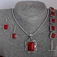 Комплект Ожерелье, серьги, браслет, Красная бирюза, под старое серебро.