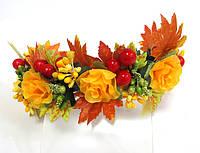 Обруч веночек ручной работы золотая осень, желтые розы и листья