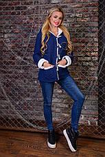 Тепла жіноча кофта з кишенями і капюшоном, фото 3