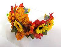 Обруч веночек ручной работы золотая осень, подсолнухи и листья