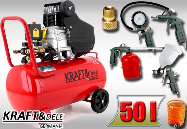 Mega Компрессор Kraftdele 50 л 3,8 КМ+покрасочный набор: продажа, цена KF05