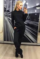 """Женский спортивный костюм """"Классика""""/ тикотаж/ чёрный"""