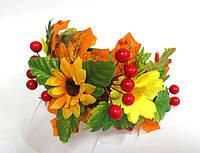 Обруч веночек ручной работы золотая осень, подсолнухи, листья и калина