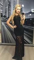 Платье женское длинное, черное