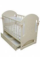 Детская кроватка Верес Соня ЛД 8 маятник сл.кость (декор резьба Мишка со стразами)