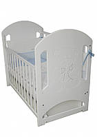 Детская кроватка Верес Соня ЛД 8 маятник белый (декор резьба Мишка со стразами)