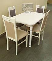 Обеденный комплект стол + 4 стула, цвет белый, ваниль.