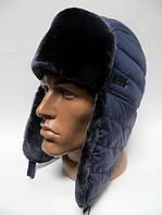 Теплая модная шапка ушанка мужская