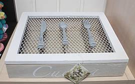 Шкатулка контейнер для столовых приборов. Подарки в стиле Прованс