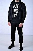 Мужской спортивный костюм Nike Hood черный на молнии найк + футболка Nike Just Do It черная /