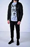 Мужской спортивный костюм Nike Hood черный на молнии найк + футболка Nike Just Do It серая /
