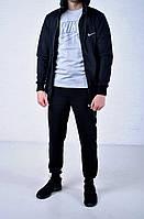 Мужской спортивный костюм Nike Hood черный на молнии найк + футболка Nike серая /