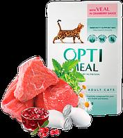 Консерва для котов Optimeal с телятиной в клюквенном соусе