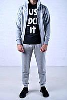Мужской спортивный костюм Nike Hood серый на молнии найк + Футболка Nike Just DoIt черная /