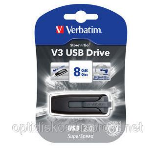 Флешка VERBATIM SuperSpeed V3, USB 3.0, 8 GB, серый