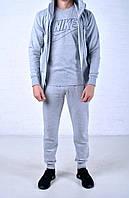 Мужской спортивный костюм Nike Hood серый на молнии найк + Футболка Nike серая /