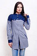 Модная удлиненная рубашка женская в клетку с джинсовыми вставками