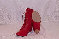 Сапожки народные красные на шнурках с раздельной подошвой, фото 1