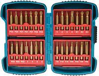 Набор бит Makita P-51976, PZ0, PZ1, PZ2, PZ3, PH1, PH2, PH3, SL: 3, 4, 5, 6 мм, HEX: 3, 4, 5, 6 мм, Torx: T8, T10, T15, T20, T25, T30, T40. 28 шт.